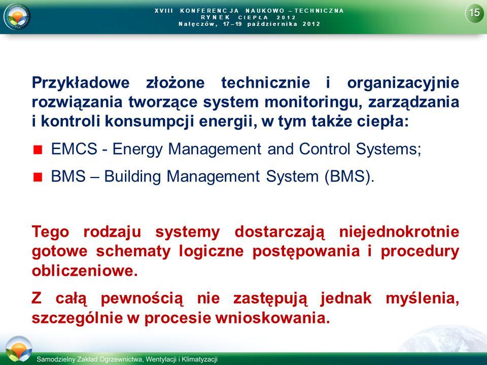 15 X V I I I K O N F E R E N C J A N A U K O W O – T E C H N I C Z N A R YNEK CIEPŁA 2012 N a ł ę c z ó w, 17 – 19 p a ź d z i e r n i k a 2 0 1 2 Przykładowe złożone technicznie i organizacyjnie rozwiązania tworzące system monitoringu, zarządzania i kontroli konsumpcji energii, w tym także ciepła: EMCS - Energy Management and Control Systems; BMS – Building Management System (BMS).