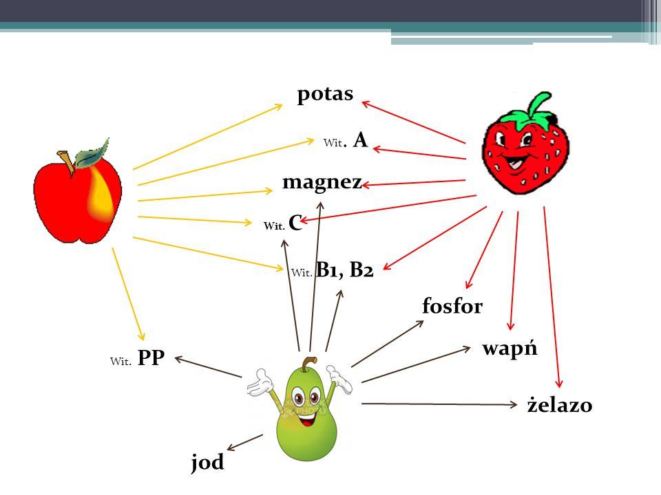 Wit. B1, B2 Wit. C magnez potas wapń żelazo jod Wit. A fosfor Wit. PP