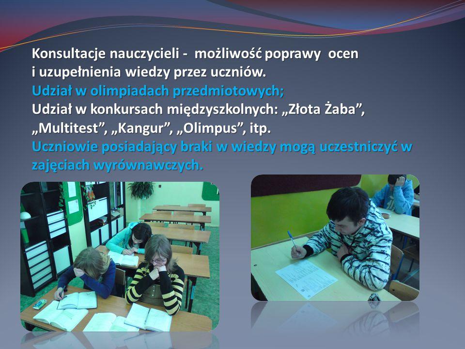 Konsultacje nauczycieli - możliwość poprawy ocen i uzupełnienia wiedzy przez uczniów.