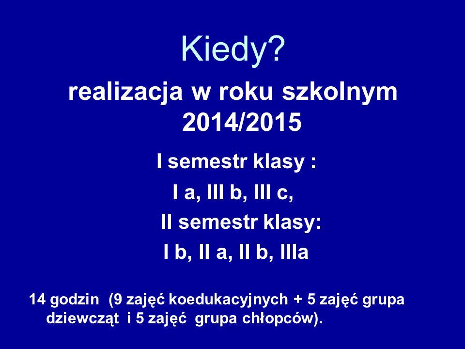 Kiedy? realizacja w roku szkolnym 2014/2015 I semestr klasy : I a, III b, III c, II semestr klasy: I b, II a, II b, IIIa 14 godzin (9 zajęć koedukacyj