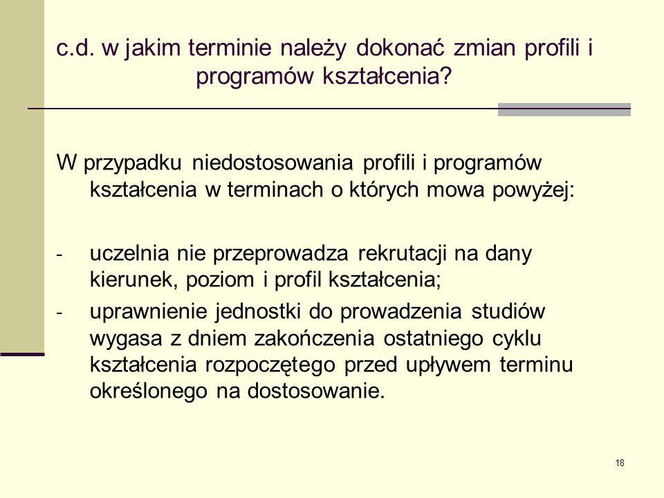 c.d.w jakim terminie należy dokonać zmian profili i programów kształcenia.