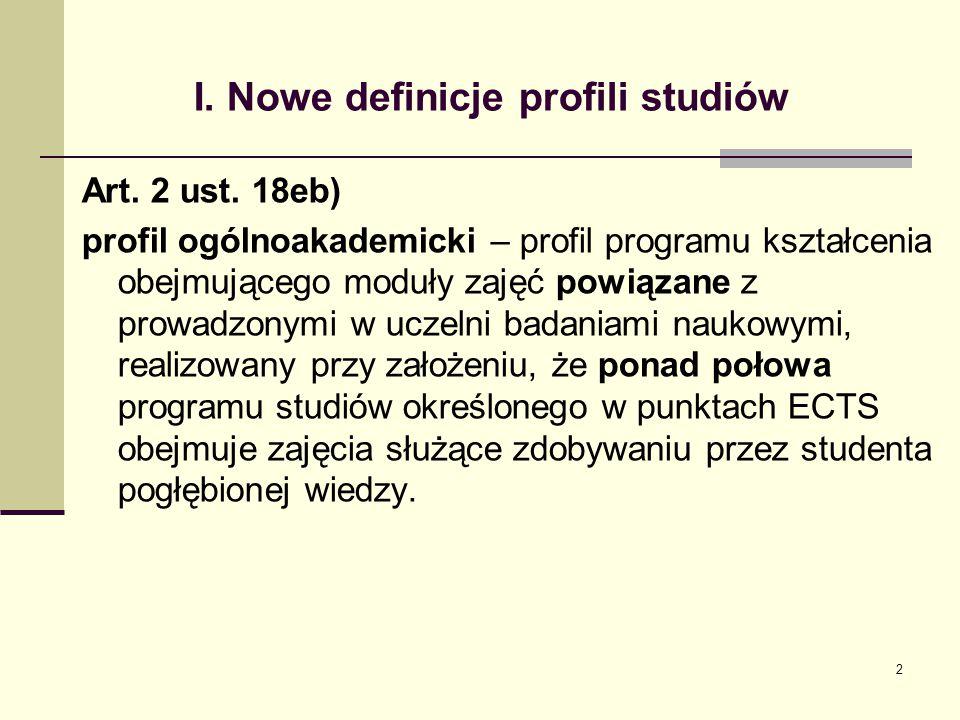 I.Nowe definicje profili studiów Art. 2 ust.