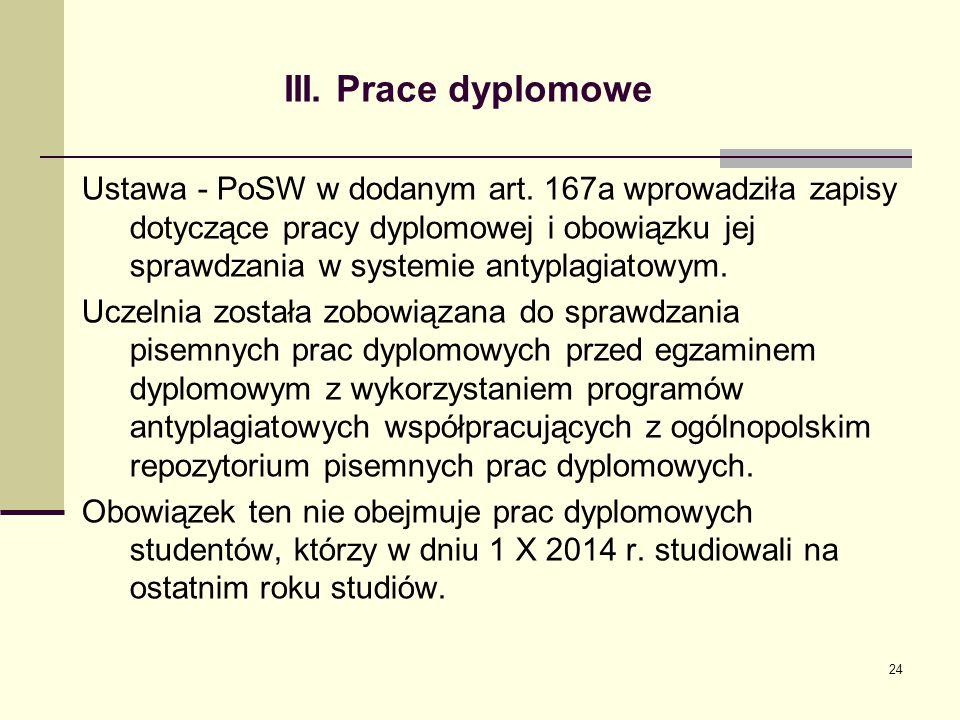 III.Prace dyplomowe Ustawa - PoSW w dodanym art.