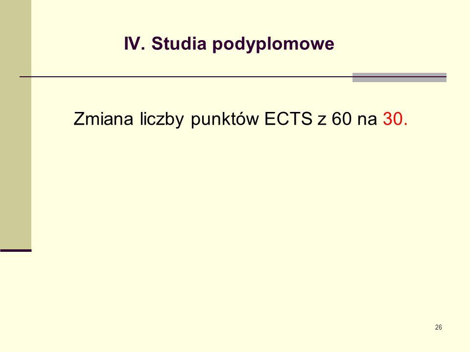 IV. Studia podyplomowe Zmiana liczby punktów ECTS z 60 na 30. 26