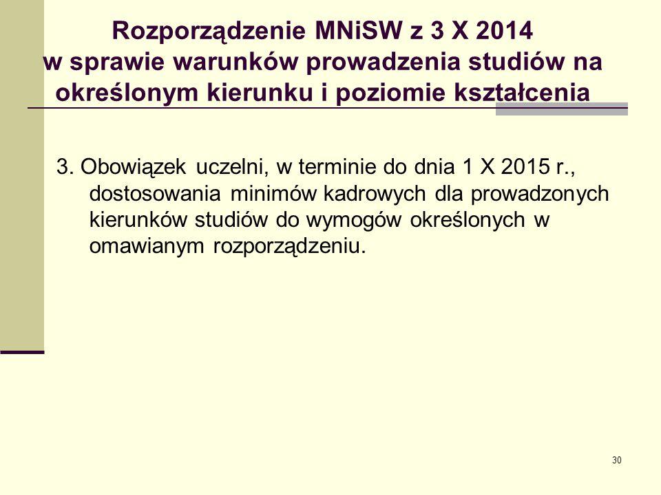 Rozporządzenie MNiSW z 3 X 2014 w sprawie warunków prowadzenia studiów na określonym kierunku i poziomie kształcenia 3.