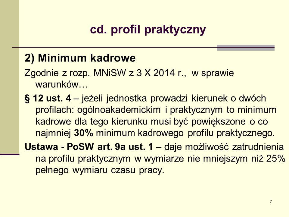 cd.profil praktyczny 2) Minimum kadrowe Zgodnie z rozp.