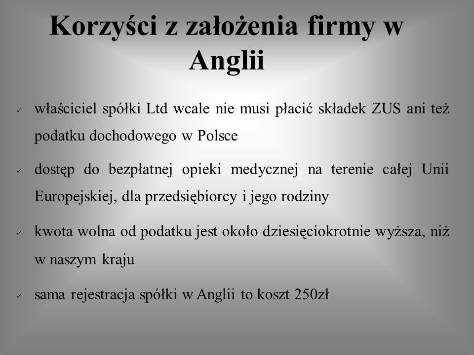 właściciel spółki Ltd wcale nie musi płacić składek ZUS ani też podatku dochodowego w Polsce dostęp do bezpłatnej opieki medycznej na terenie całej Unii Europejskiej, dla przedsiębiorcy i jego rodziny kwota wolna od podatku jest około dziesięciokrotnie wyższa, niż w naszym kraju sama rejestracja spółki w Anglii to koszt 250zł