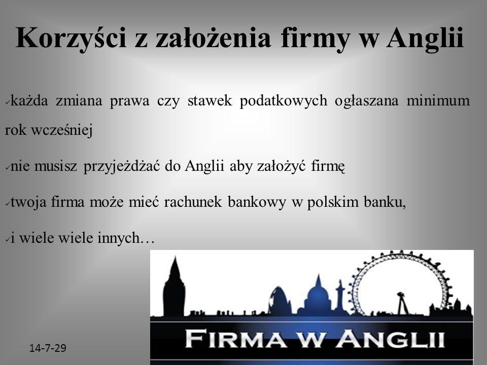 14-7-29 Korzyści z założenia firmy w Anglii każda zmiana prawa czy stawek podatkowych ogłaszana minimum rok wcześniej nie musisz przyjeżdżać do Anglii aby założyć firmę twoja firma może mieć rachunek bankowy w polskim banku, i wiele wiele innych…
