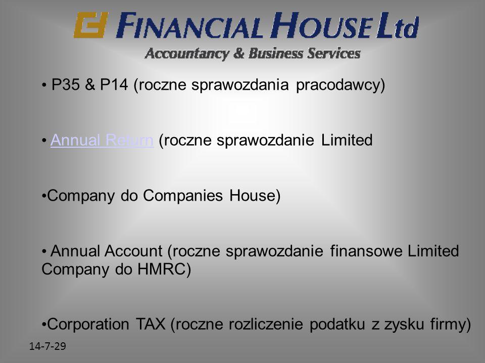 14-7-29 P35 & P14 (roczne sprawozdania pracodawcy) Annual Return (roczne sprawozdanie LimitedAnnual Return Company do Companies House) Annual Account (roczne sprawozdanie finansowe Limited Company do HMRC) Corporation TAX (roczne rozliczenie podatku z zysku firmy)
