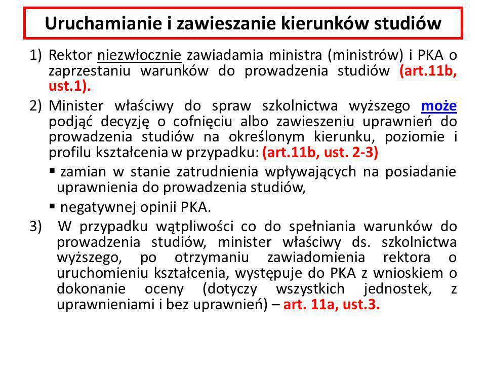 Uruchamianie i zawieszanie kierunków studiów 1)Rektor niezwłocznie zawiadamia ministra (ministrów) i PKA o zaprzestaniu warunków do prowadzenia studiów (art.11b, ust.1).