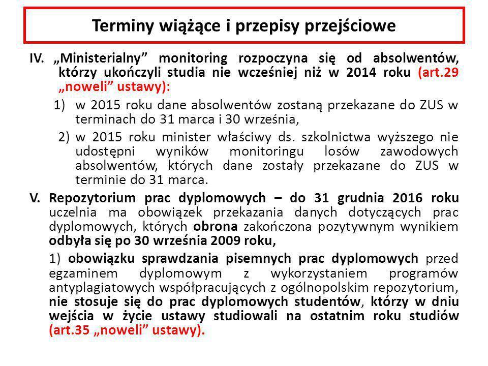 """Terminy wiążące i przepisy przejściowe IV. """"Ministerialny"""" monitoring rozpoczyna się od absolwentów, którzy ukończyli studia nie wcześniej niż w 2014"""