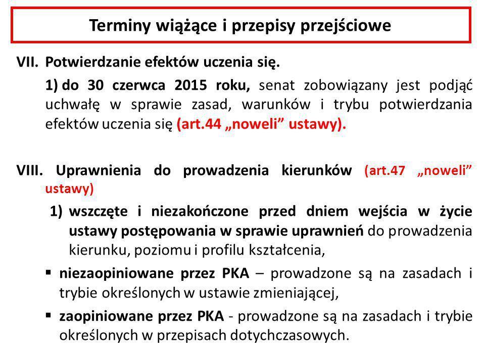 Terminy wiążące i przepisy przejściowe VII.Potwierdzanie efektów uczenia się. 1) do 30 czerwca 2015 roku, senat zobowiązany jest podjąć uchwałę w spra