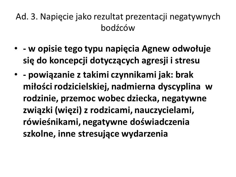 Ad. 3. Napięcie jako rezultat prezentacji negatywnych bodźców - w opisie tego typu napięcia Agnew odwołuje się do koncepcji dotyczących agresji i stre