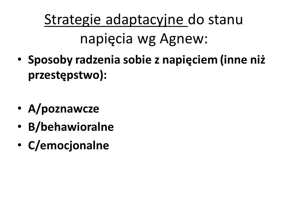 Strategie adaptacyjne do stanu napięcia wg Agnew: Sposoby radzenia sobie z napięciem (inne niż przestępstwo): A/poznawcze B/behawioralne C/emocjonalne