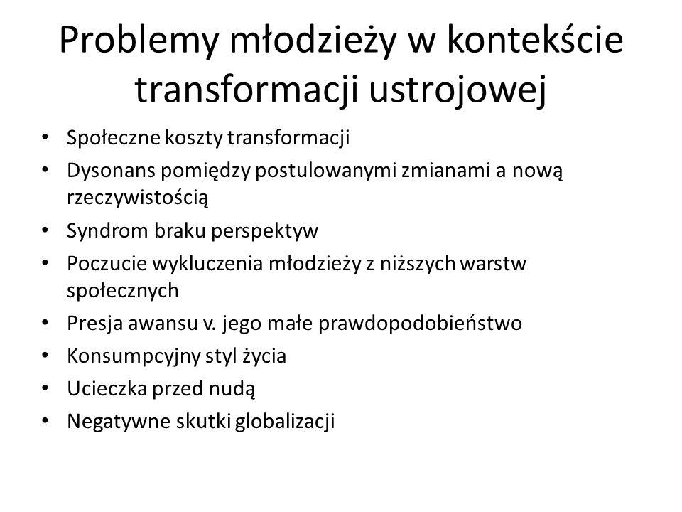 Problemy młodzieży w kontekście transformacji ustrojowej Społeczne koszty transformacji Dysonans pomiędzy postulowanymi zmianami a nową rzeczywistości