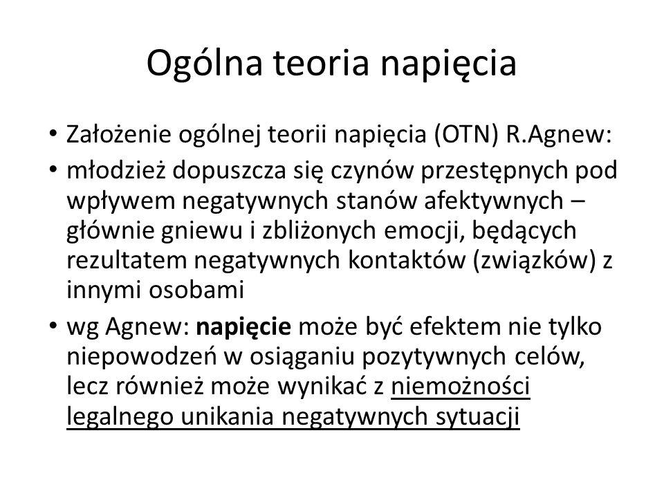 Ogólna teoria napięcia Założenie ogólnej teorii napięcia (OTN) R.Agnew: młodzież dopuszcza się czynów przestępnych pod wpływem negatywnych stanów afek