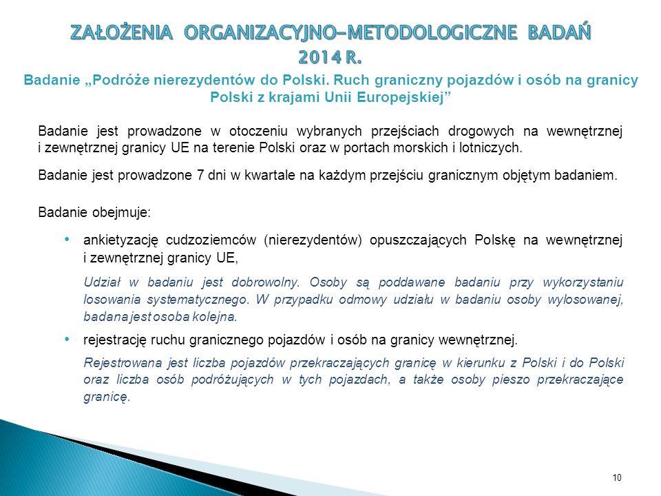 Badanie jest prowadzone w otoczeniu wybranych przejściach drogowych na wewnętrznej i zewnętrznej granicy UE na terenie Polski oraz w portach morskich i lotniczych.