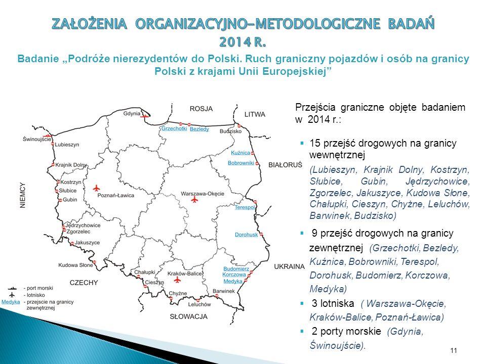 Przejścia graniczne objęte badaniem w 2014 r.:  15 przejść drogowych na granicy wewnętrznej (Lubieszyn, Krajnik Dolny, Kostrzyn, Słubice, Gubin, Jędrzychowice, Zgorzelec, Jakuszyce, Kudowa Słone, Chałupki, Cieszyn, Chyżne, Leluchów, Barwinek, Budzisko)  9 przejść drogowych na granicy zewnętrznej (Grzechotki, Bezledy, Kuźnica, Bobrowniki, Terespol, Dorohusk, Budomierz, Korczowa, Medyka)  3 lotniska ( Warszawa-Okęcie, Kraków-Balice, Poznań-Ławica)  2 porty morskie (Gdynia, Świnoujście).