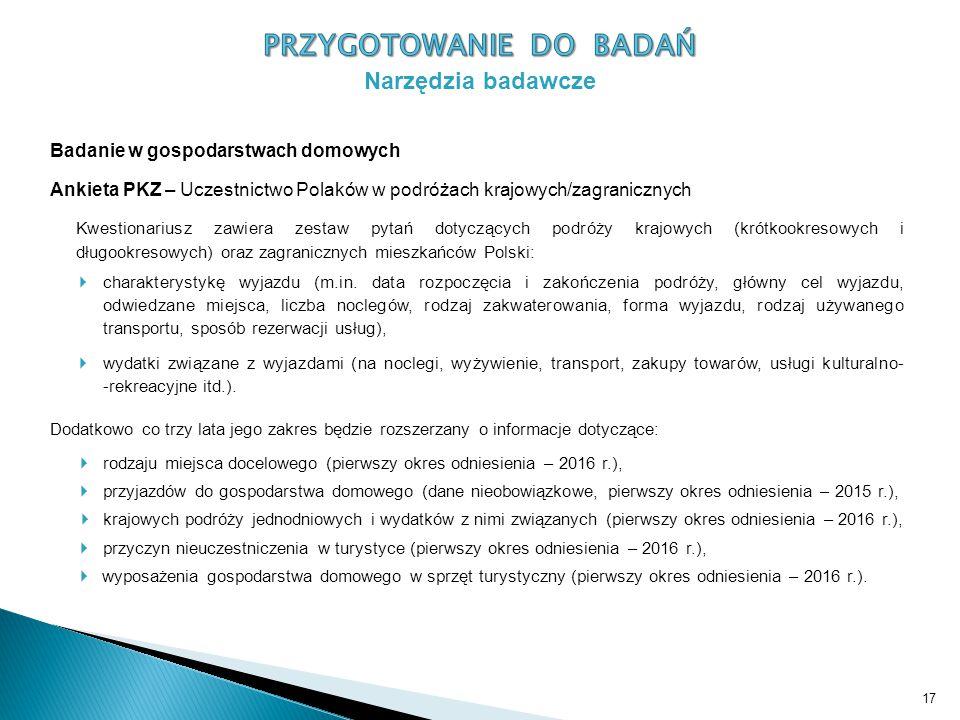 Badanie w gospodarstwach domowych Ankieta PKZ – Uczestnictwo Polaków w podróżach krajowych/zagranicznych Kwestionariusz zawiera zestaw pytań dotyczących podróży krajowych (krótkookresowych i długookresowych) oraz zagranicznych mieszkańców Polski:  charakterystykę wyjazdu (m.in.