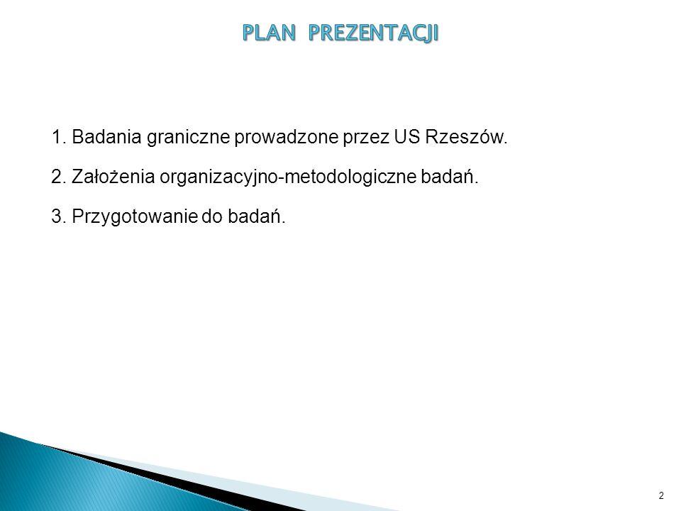2 1. Badania graniczne prowadzone przez US Rzeszów. 2. Założenia organizacyjno-metodologiczne badań. 3. Przygotowanie do badań.