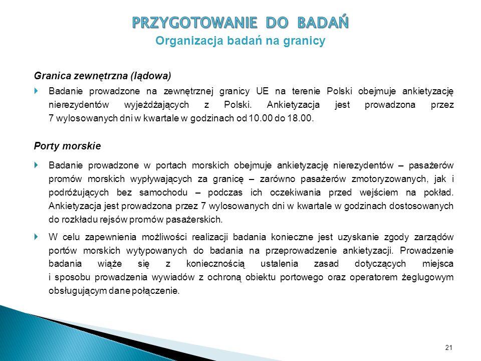 Granica zewnętrzna (lądowa)  Badanie prowadzone na zewnętrznej granicy UE na terenie Polski obejmuje ankietyzację nierezydentów wyjeżdżających z Polski.