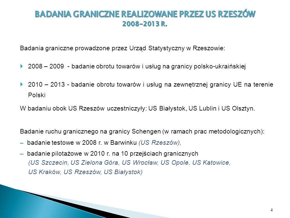 Badania graniczne prowadzone przez Urząd Statystyczny w Rzeszowie:  2008 – 2009 - badanie obrotu towarów i usług na granicy polsko-ukraińskiej  2010 – 2013 - badanie obrotu towarów i usług na zewnętrznej granicy UE na terenie Polski W badaniu obok US Rzeszów uczestniczyły: US Białystok, US Lublin i US Olsztyn.