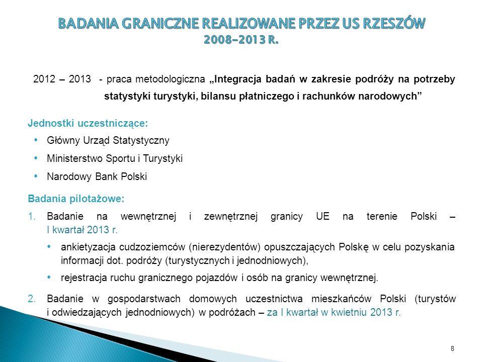 """2012 – 2013 - praca metodologiczna """"Integracja badań w zakresie podróży na potrzeby statystyki turystyki, bilansu płatniczego i rachunków narodowych"""""""