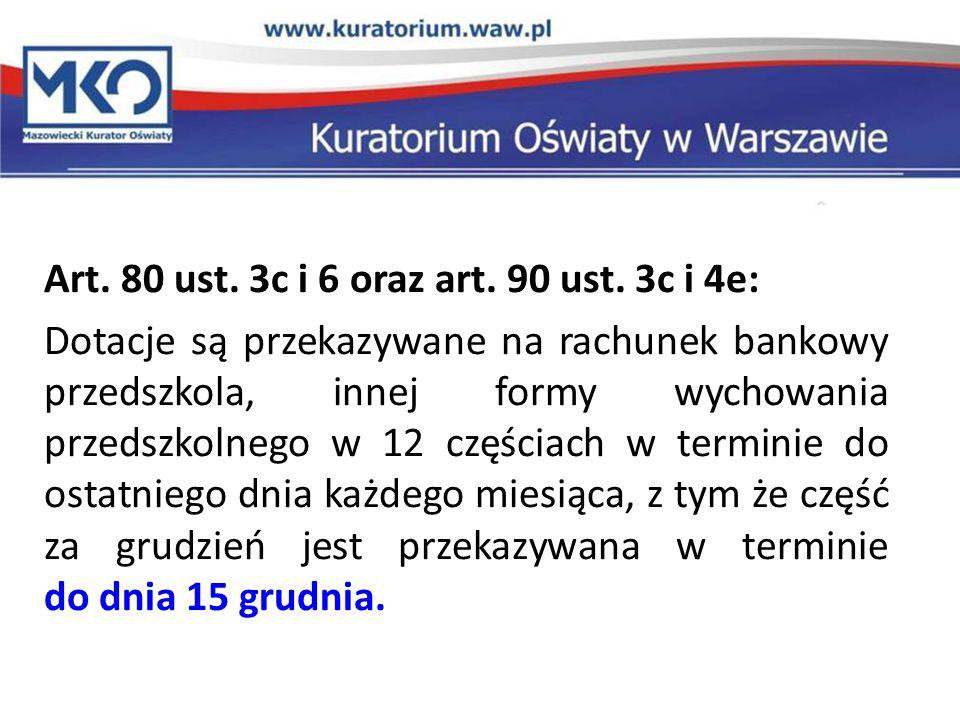 Art. 80 ust. 3c i 6 oraz art. 90 ust. 3c i 4e: Dotacje są przekazywane na rachunek bankowy przedszkola, innej formy wychowania przedszkolnego w 12 czę