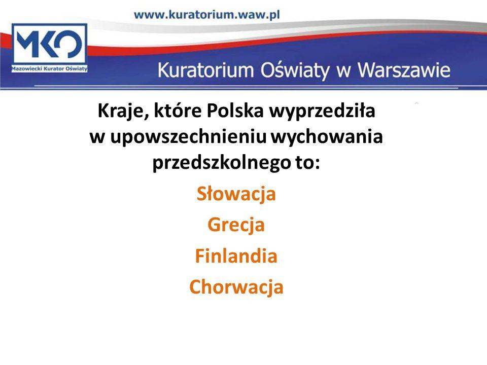 Kraje, które Polska wyprzedziła w upowszechnieniu wychowania przedszkolnego to: Słowacja Grecja Finlandia Chorwacja