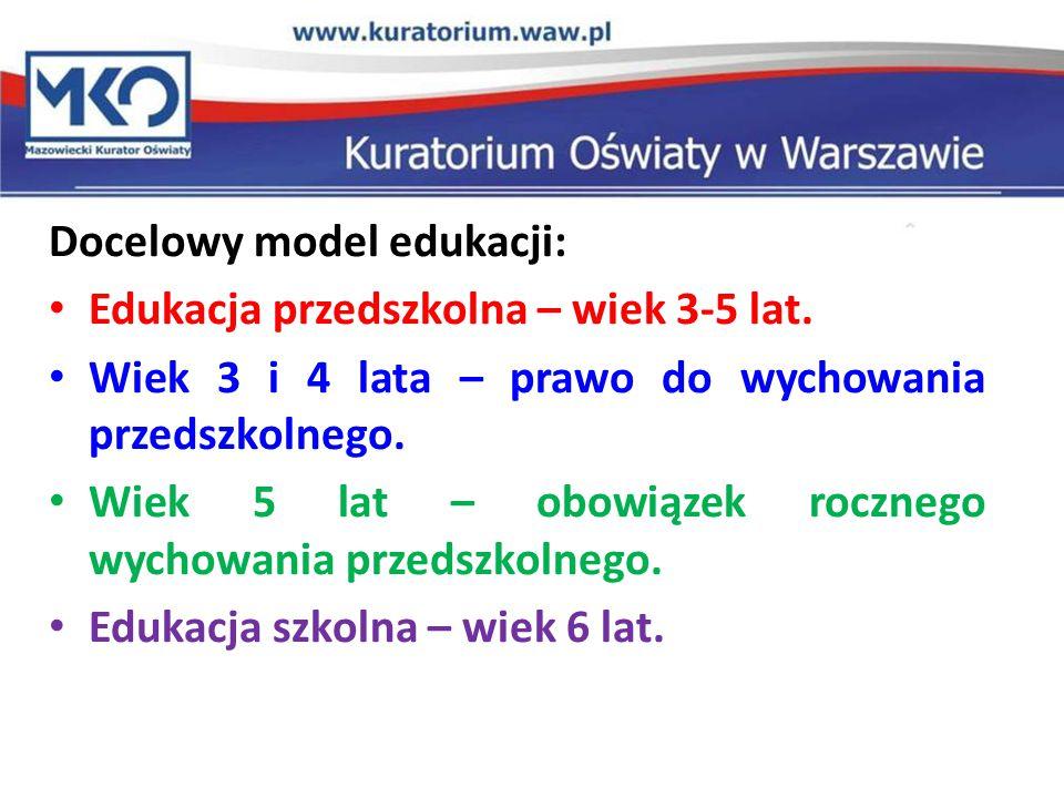 Docelowy model edukacji: Edukacja przedszkolna – wiek 3-5 lat.