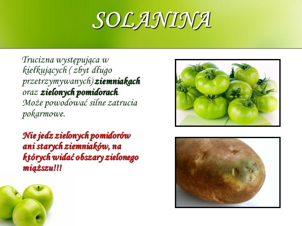 SOLANINA ziemniakach zielonych pomidorach Nie jedz zielonych pomidorów ani starych ziemniaków, na których widać obszary zielonego miąższu!!! Trucizna