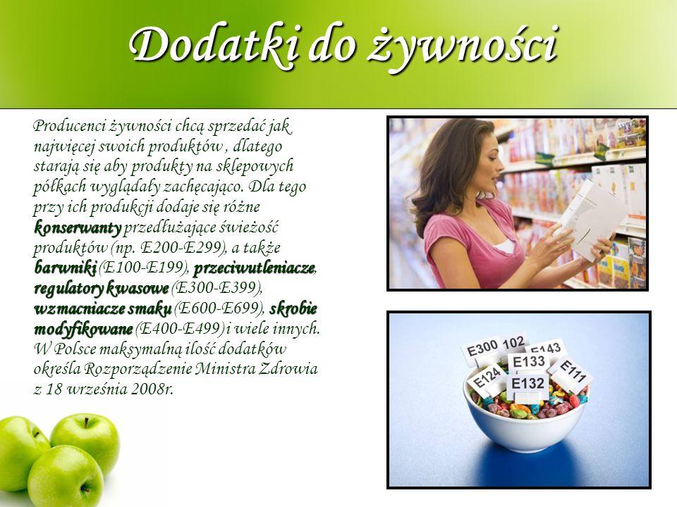 Dodatki do żywności konserwanty barwnikiprzeciwutleniacze regulatory kwasowe wzmacniacze smakuskrobie modyfikowane Producenci żywności chcą sprzedać j