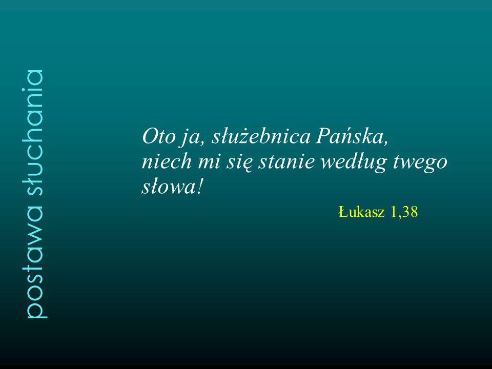 Oto ja, służebnica Pańska, niech mi się stanie według twego słowa! Łukasz 1,38 postawa słuchania