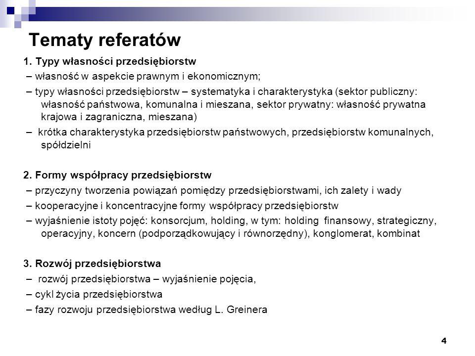 Tematy referatów 4.