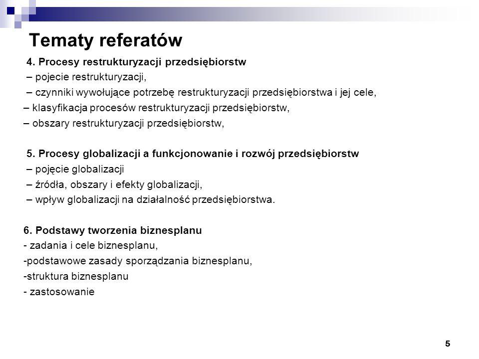"""Tematy referatów 7.Projekt """"Zakładanie własnej działalności gospodarczej ."""