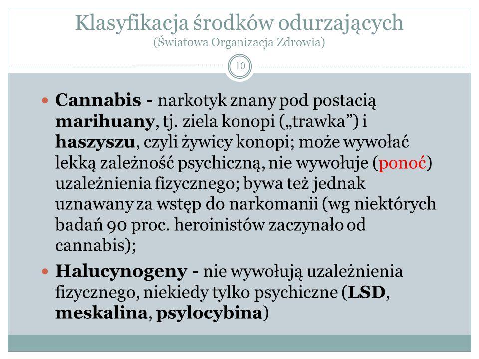 """Klasyfikacja środków odurzających (Światowa Organizacja Zdrowia) 10 Cannabis - narkotyk znany pod postacią marihuany, tj. ziela konopi (""""trawka"""") i ha"""