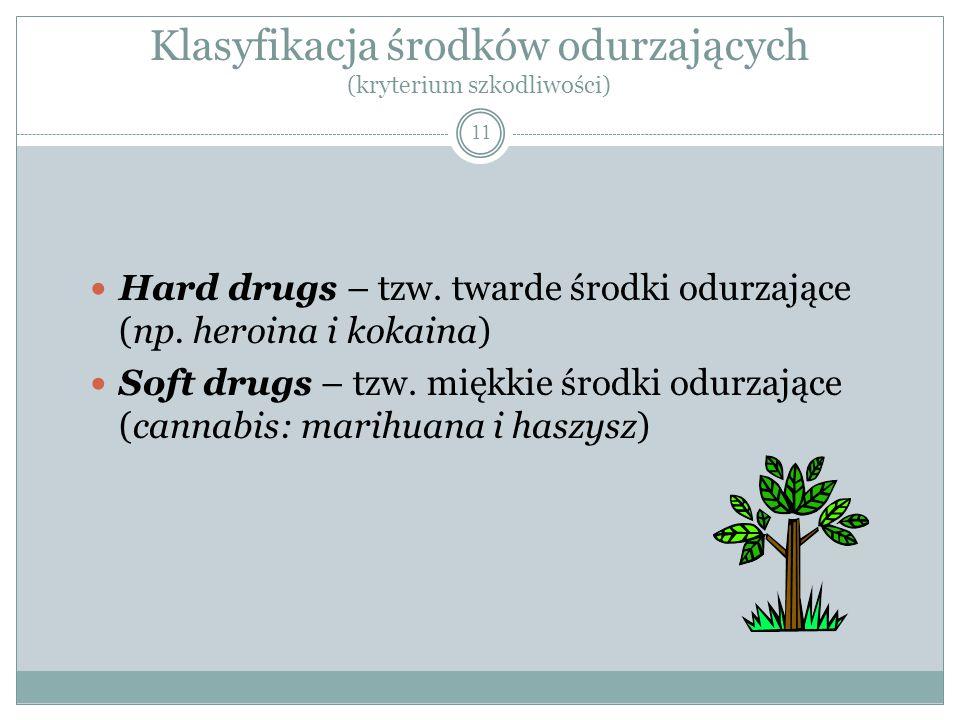 Klasyfikacja środków odurzających (kryterium szkodliwości) 11 Hard drugs – tzw. twarde środki odurzające (np. heroina i kokaina) Soft drugs – tzw. mię
