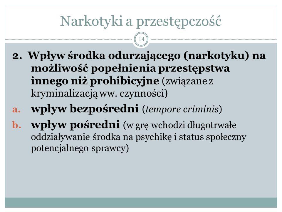 Narkotyki a przestępczość 14 2. Wpływ środka odurzającego (narkotyku) na możliwość popełnienia przestępstwa innego niż prohibicyjne (związane z krymin