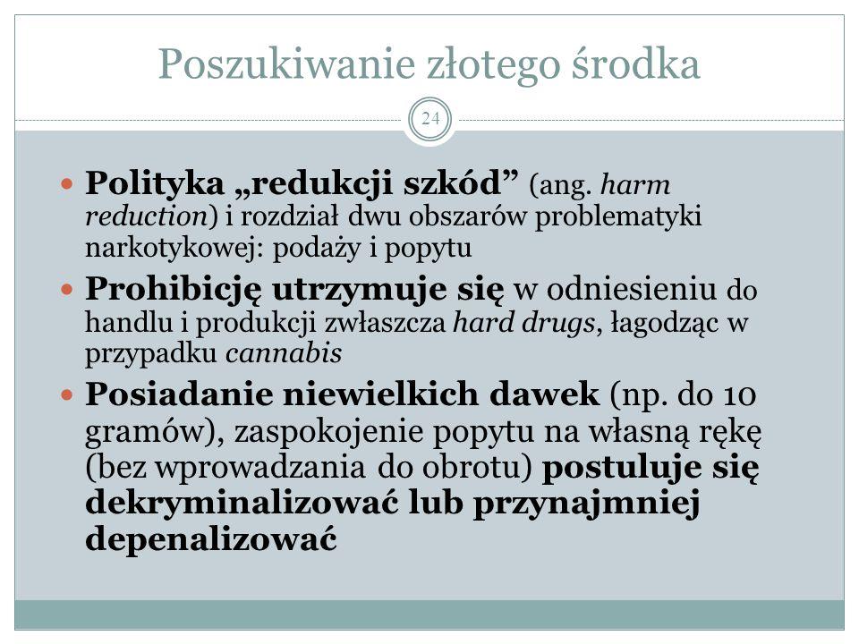 """Poszukiwanie złotego środka 24 Polityka """"redukcji szkód"""" (ang. harm reduction) i rozdział dwu obszarów problematyki narkotykowej: podaży i popytu Proh"""