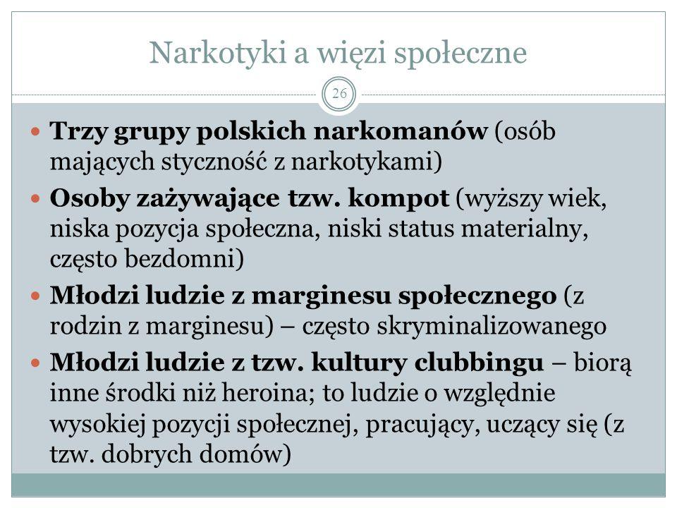 Narkotyki a więzi społeczne Trzy grupy polskich narkomanów (osób mających styczność z narkotykami) Osoby zażywające tzw. kompot (wyższy wiek, niska po