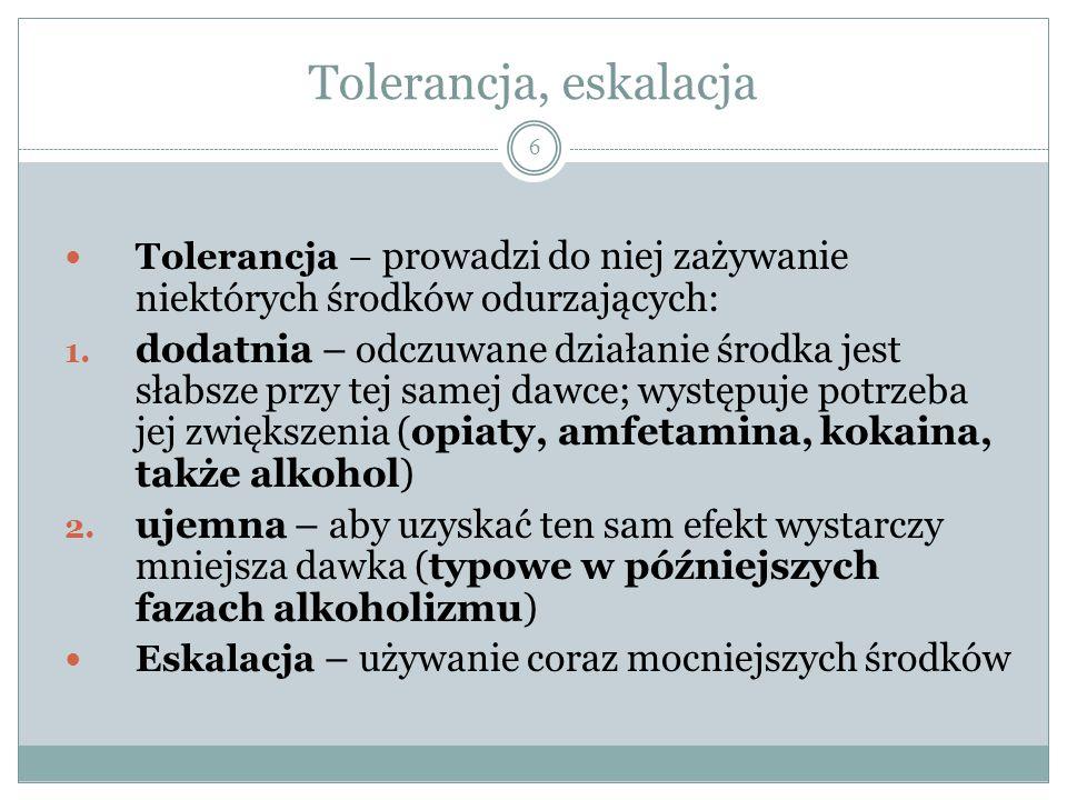 Klasyfikacja środków odurzających (Światowa Organizacja Zdrowia) 7 Opiaty/opoidy (opium, morfina, heroina, kodeina, metadon (methadon); szybko wywołują uzależnienie fizyczne i psychiczne oraz zjawisko tolerancji dodatniej, mają wyraźną dawkę śmiertelną; Barbiturany (pochodne kwasu barbiturowego i barbituropodobne środki nasenne: luminal, relanium); niebezpieczne zwłaszcza przy zmieszaniu z alkoholem, który zresztą do tej grupy jest zaliczany; szybko uzależniają psychicznie, potem także fizycznie