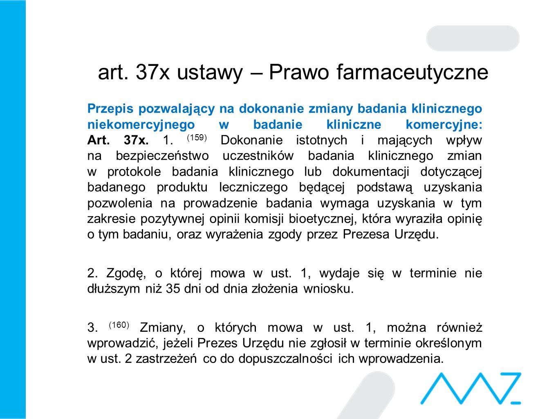 art.37k ust. 1 i 1a ustawy – Prawo farmaceutyczne i problem finansowania badań klinicznych Art.