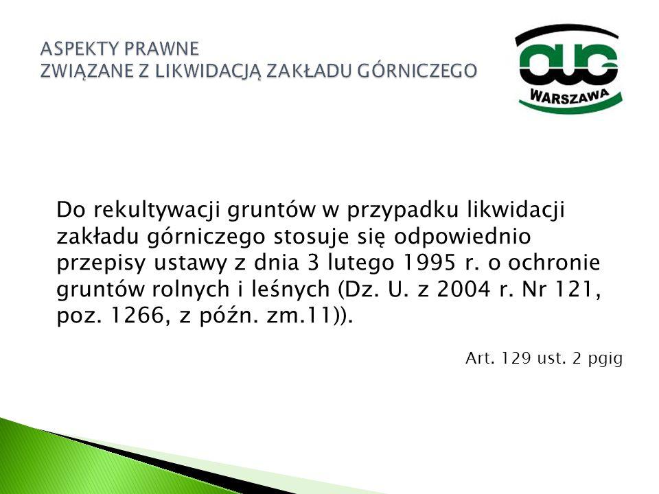 Do rekultywacji gruntów w przypadku likwidacji zakładu górniczego stosuje się odpowiednio przepisy ustawy z dnia 3 lutego 1995 r. o ochronie gruntów r