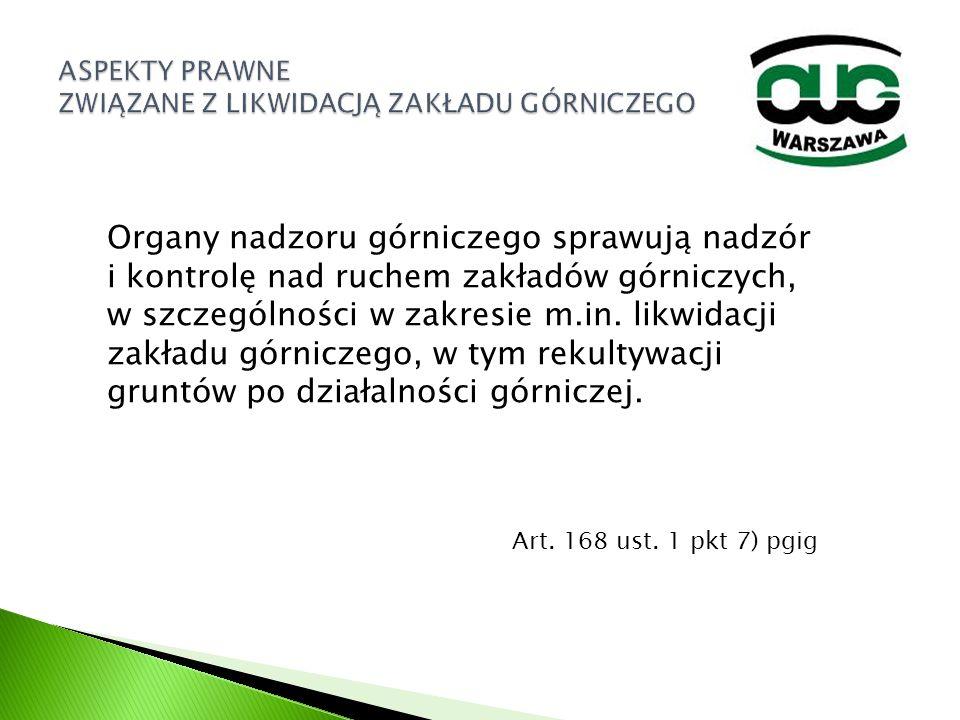 Organy nadzoru górniczego sprawują nadzór i kontrolę nad ruchem zakładów górniczych, w szczególności w zakresie m.in. likwidacji zakładu górniczego, w