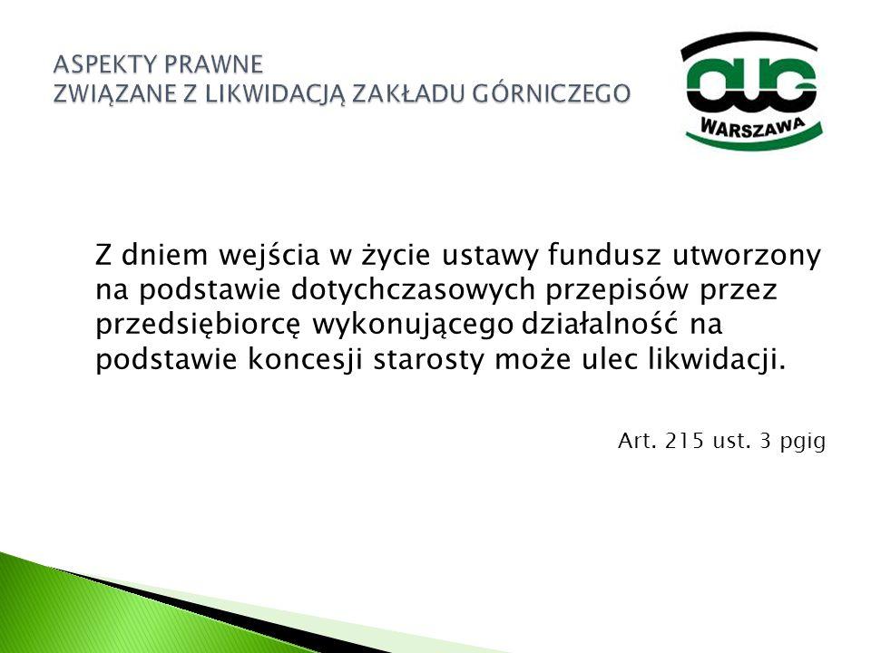 Z dniem wejścia w życie ustawy fundusz utworzony na podstawie dotychczasowych przepisów przez przedsiębiorcę wykonującego działalność na podstawie kon