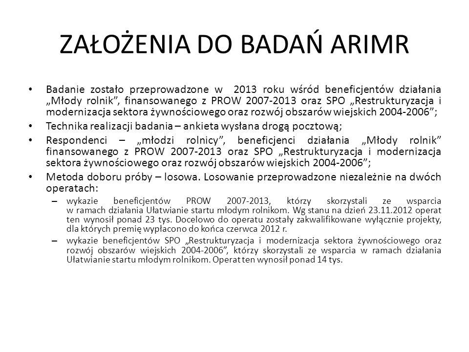 """ZAŁOŻENIA DO BADAŃ ARIMR Badanie zostało przeprowadzone w 2013 roku wśród beneficjentów działania """"Młody rolnik"""", finansowanego z PROW 2007-2013 oraz"""