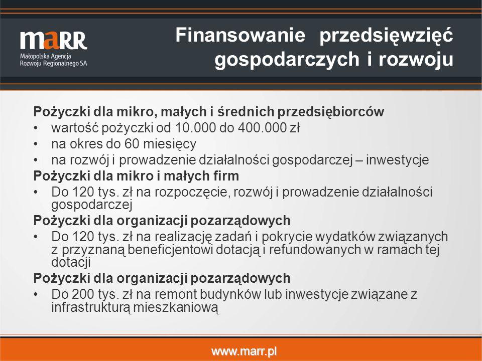 www.marr.pl Finansowanie przedsięwzięć gospodarczych i rozwoju Pożyczki dla mikro, małych i średnich przedsiębiorców wartość pożyczki od 10.000 do 400.000 zł na okres do 60 miesięcy na rozwój i prowadzenie działalności gospodarczej – inwestycje Pożyczki dla mikro i małych firm Do 120 tys.