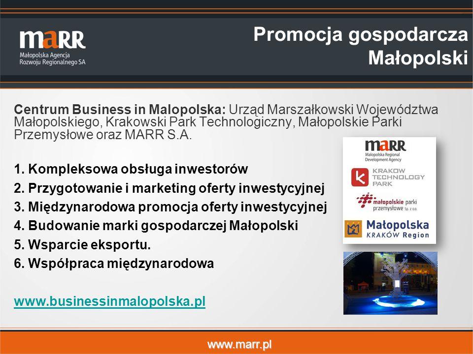 www.marr.pl Promocja gospodarcza Małopolski Centrum Business in Malopolska: Urząd Marszałkowski Województwa Małopolskiego, Krakowski Park Technologicz