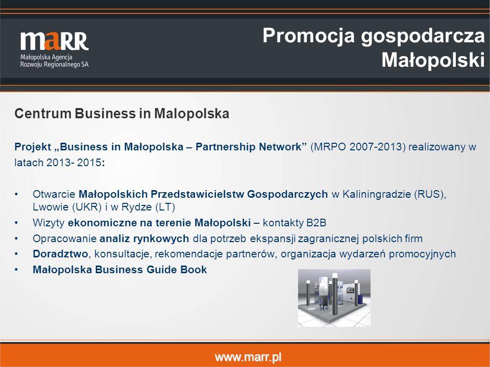 """www.marr.pl Promocja gospodarcza Małopolski Centrum Business in Malopolska Projekt """"Business in Małopolska – Partnership Network"""" (MRPO 2007-2013) rea"""