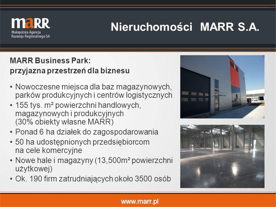 www.marr.pl Nieruchomości MARR S.A. MARR Business Park: przyjazna przestrzeń dla biznesu Nowoczesne miejsca dla baz magazynowych, parków produkcyjnych